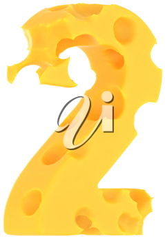 Cheeze font 2 number isolated over white background