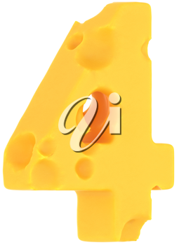 Cheeze font 4 number isolated over white background
