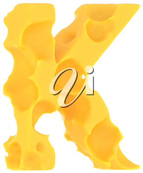 Cheeze font K letter isolated over white background