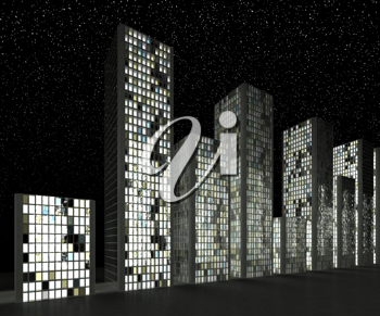 City at night: Abstract skyscrapers and starry sky