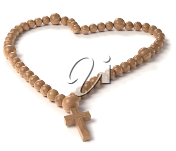 Love and Religion: chaplet or rosary beads over white