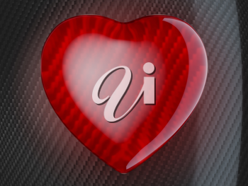 Red heart shape over carbon fiber background