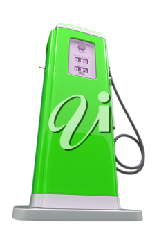 Retro green gasoline pump isolated over white background