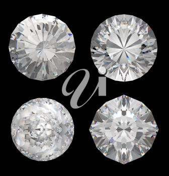 Top views of large diamonds over the black background