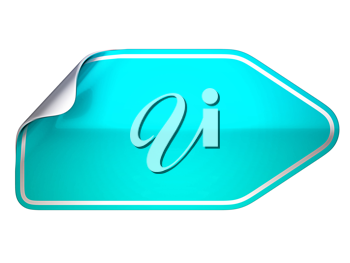 Turquoise bent sticker or label over white background