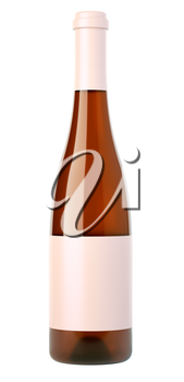 Corked bottle of white wine or brandy with blank label isolated on white