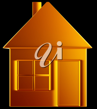 Costly home:: golden house shape over black
