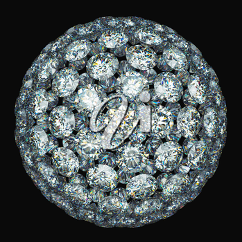 Diamonds or gemstones sphere isolated over black