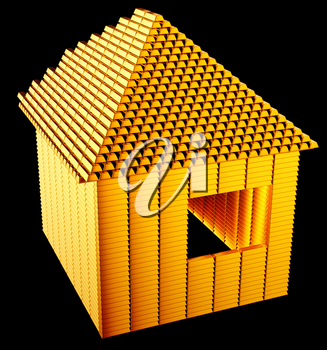 Expensive realty:: gold bars house shape over black