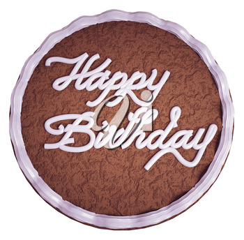 Happy birthday: top view of cake with greeting words isolated on white