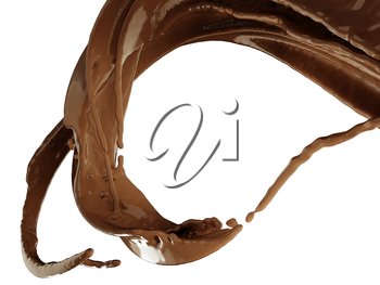Hot chocolate or cocoa splash over white background