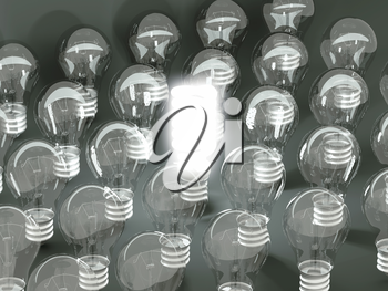 New idea or invention: illuminated efficient bulb among old ones. Large resolution