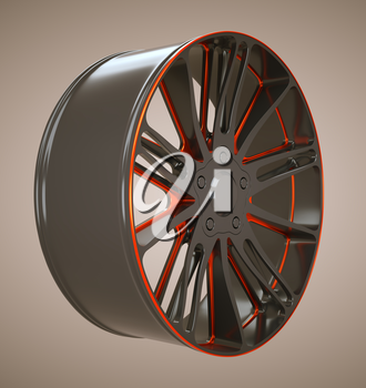 Vehicle Black and red disc or wheel. Custom made and rendered