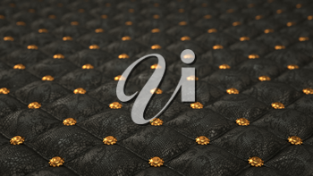 Alligator skin background with pattern and buttons. Artistic shallow DOF