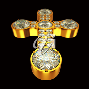 Jewelery: golden cross with diamonds over black. Custom made and rendered