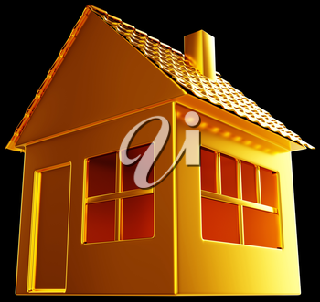 Costly realty: golden house shape on black. Useful for business