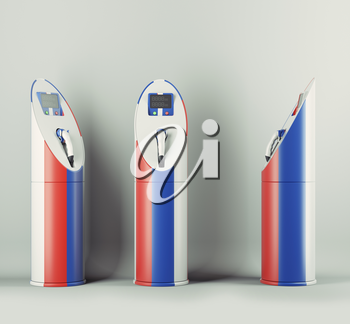 Eco fuel: three charging stations with Russian flag pattern for electric cars