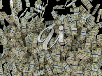 Make money: bunches of US dollars isolated on black