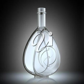 Bottle for alcoholic beverages with recycling symbol. Ecology and environment