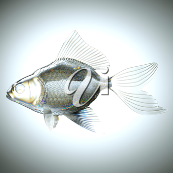 Side view of fish made of glass over gradient background