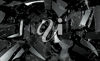 Many pieces of broken and Shattered glass. Large resolution
