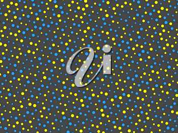 Polka dot pattern with yellow and blue circles on grey