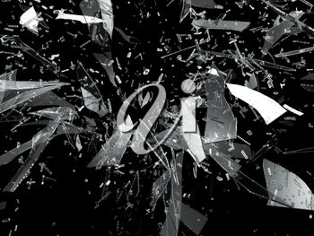 Shattered or smashed glass sharp Pieces on black