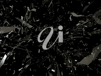Small and large pieces of shattered black glass on black background