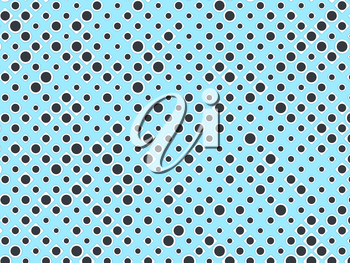 Polka dot pattern with black circles and white rectangles on blue. Useful as background