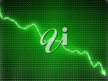 Green trend as recession symbol or financial crisis. Business concept