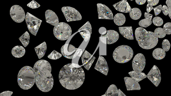 Diamonds or gemstones isolated on black background