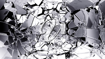 Broken and cracked glass isolated on black. high resolution