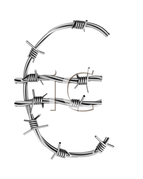 Royalty Free Clipart Image of a Euro Sign From Barbed Wire