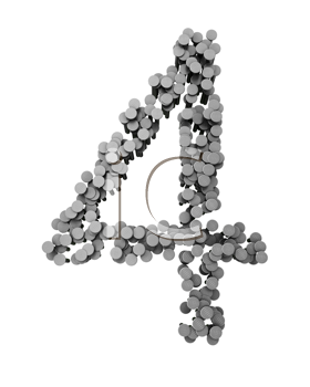 Royalty Free Clipart Image of the Number Four Made From Hammered Nails