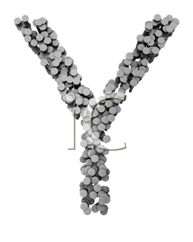 Royalty Free Clipart Image of a Y Made From Hammered Nails
