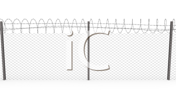 Royalty Free Clipart Image of a Chainlink Fence With Barbed Wire