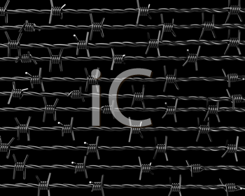 Royalty Free Clipart Image of Barbed Wire on Black