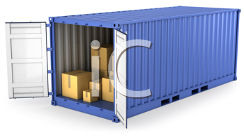 Royalty Free Clipart Image of a Blue Container With the Doors Open