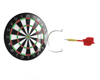 Royalty Free Clipart Image of a Dart Coming to a Dartboard