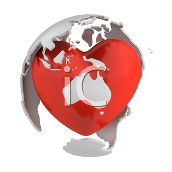 Royalty Free Clipart Image of an Abstract Globe Around a Heart