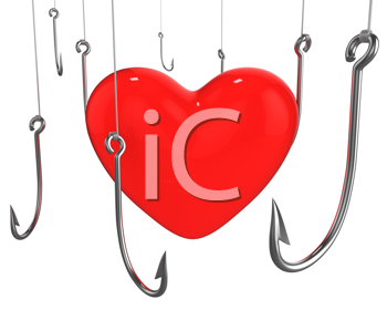 Royalty Free Clipart Image of Hooks and a Heart