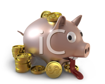 Royalty Free Clipart Image of an Overflowing Piggy Bank