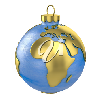 Christmas ball shaped as globe or planet isolated on white background, Africa part