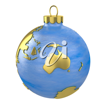 Christmas ball shaped as globe or planet isolated on white background, Australia part