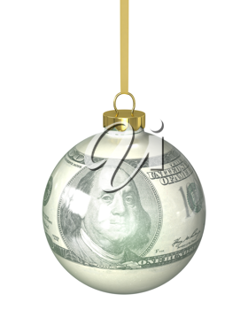 Christmas ball with dollar texture isolated on white background