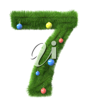 7 number made of christmas tree branches isolated on white background