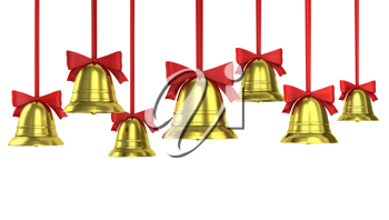 A lot of Christmas bells with red ribbons isolated on white background