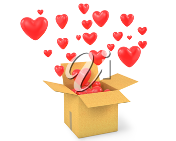 Carton box with a lot of flying out hearts, isolated on white background