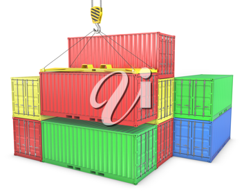Group of freight containers, isolated on white background