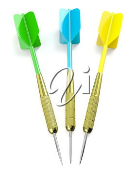 Three darts arrows, red, blue and yellow, isolated on white background